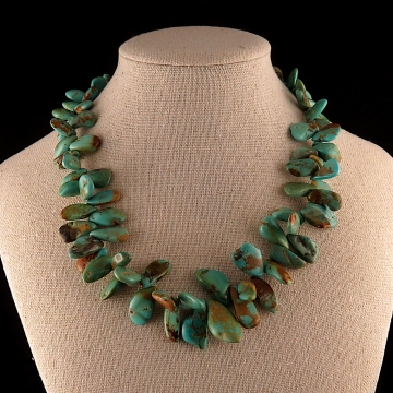 Turquoise Petal Necklace with Bali Silver Clasp