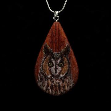 Long Eared Owl on Bubinga Wood Pendant