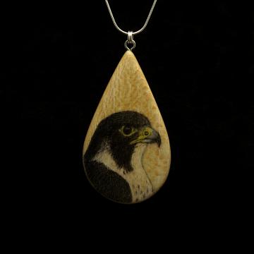 Peregrine Falcon on Quarter Sawn Ash Wood Pendant