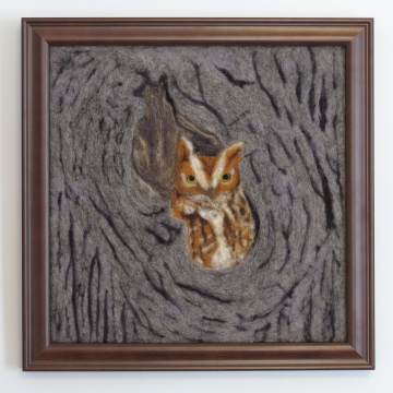 Eastern Screech Owl Needle Felted Wool Painting