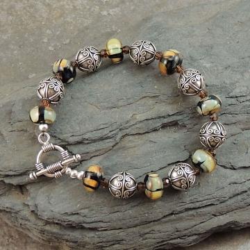 Artisan Lampwork, Bali Silver Bracelet