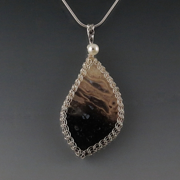 Petrified Palm Wood Pendant Necklace Sterling Silver Viking Knit Wire Wrapped