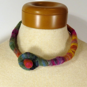 Felted Wool Necklace - Rainbow