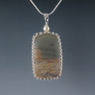 Willow Creek Jasper Pendant Necklace Sterling Silver Viking Knit Wire Wrapped