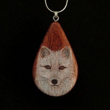 Arctic Fox on Bubinga Wood Pendant