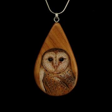 Barn Owl on Cherry Wood Pendant
