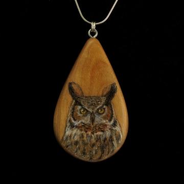 Great Horned Owl on Apple Wood Pendant