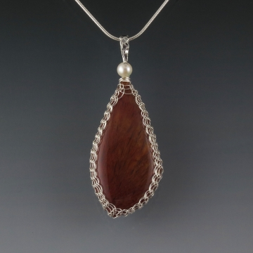 Sagenite Agate Pendant Necklace Sterling Silver Viking Knit Wire Wrapped