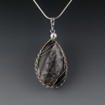 Orthoceras Fossil Pendant Necklace Sterling Silver Viking Knit Wire Wrapped