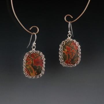 Cherry Creek Jasper Earrings Sterling Silver Viking Knit Wire Wrapped