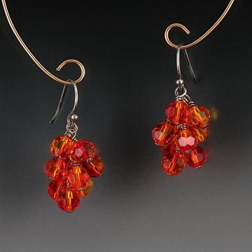 Swarovski Crystal Cluster Earrings - Fire Opal