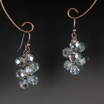 Swarovski Crystal Cluster Earrings - Light Azore AB