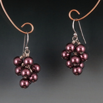 Swarovski Crystal Pearl Cluster Earrings - Burgundy
