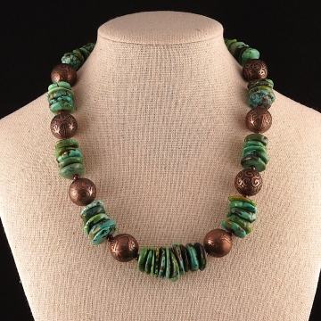 Genuine Turquoise and Etched Copper Necklace
