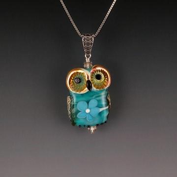 Lampwork Owl Pendant Sterling Silver PHOEBE