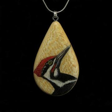 Pileated Woodpecker on Quarter Sawn Ash Wood Pendant