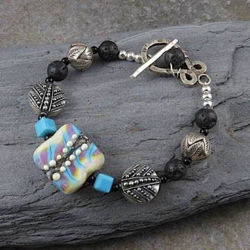 Artisan Lampwork Bracelet, Bali Sterling Silver, Hill Tribe Fine Silver