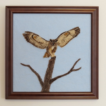 Great Horned Owl Needle Felted Wool Painting